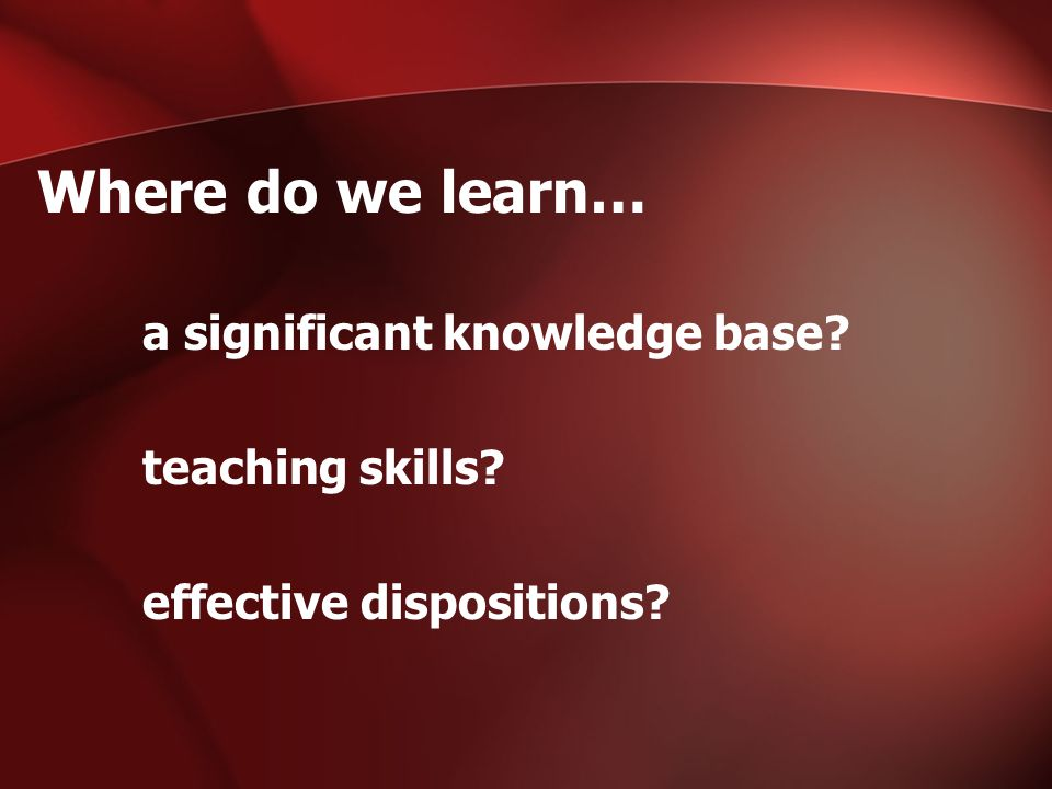 Where do we learn… a significant knowledge base teaching skills