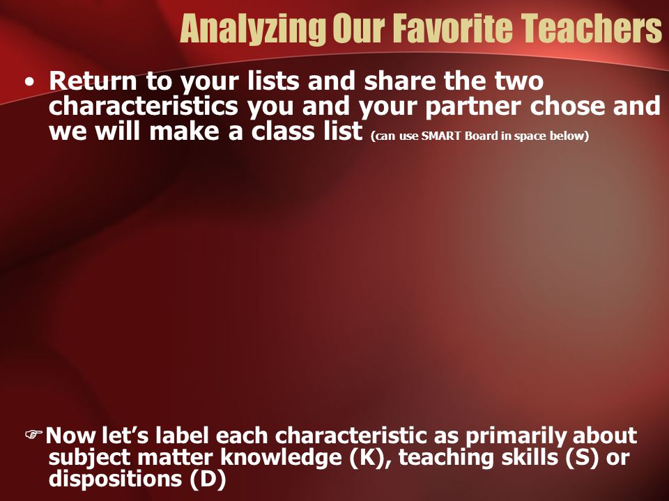 Analyzing Our Favorite Teachers