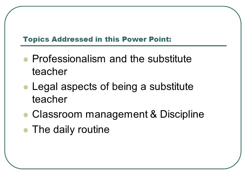 Topics Addressed in this Power Point: