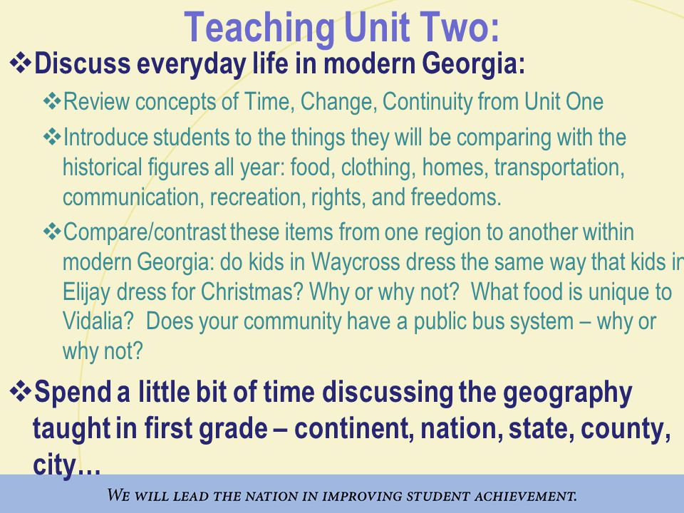 Teaching Unit Two: Discuss everyday life in modern Georgia: