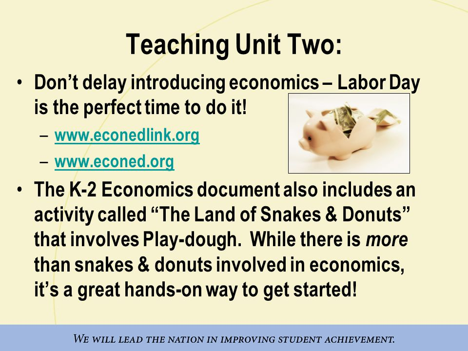 Teaching Unit Two: Don't delay introducing economics – Labor Day is the perfect time to do it! www.econedlink.org.