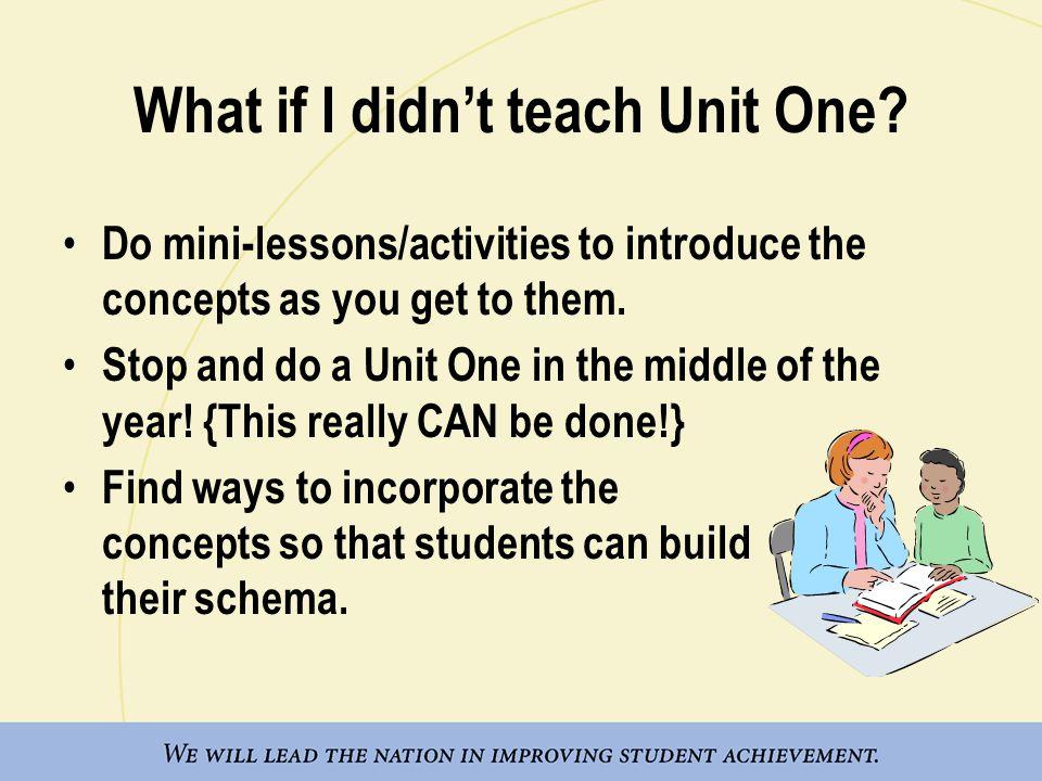 What if I didn't teach Unit One