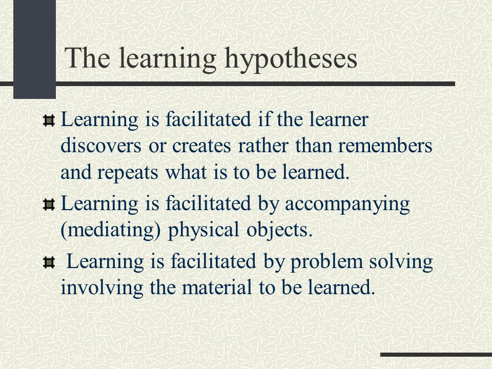 The learning hypotheses