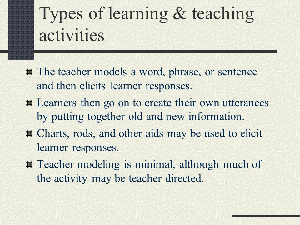 Types of learning & teaching activities