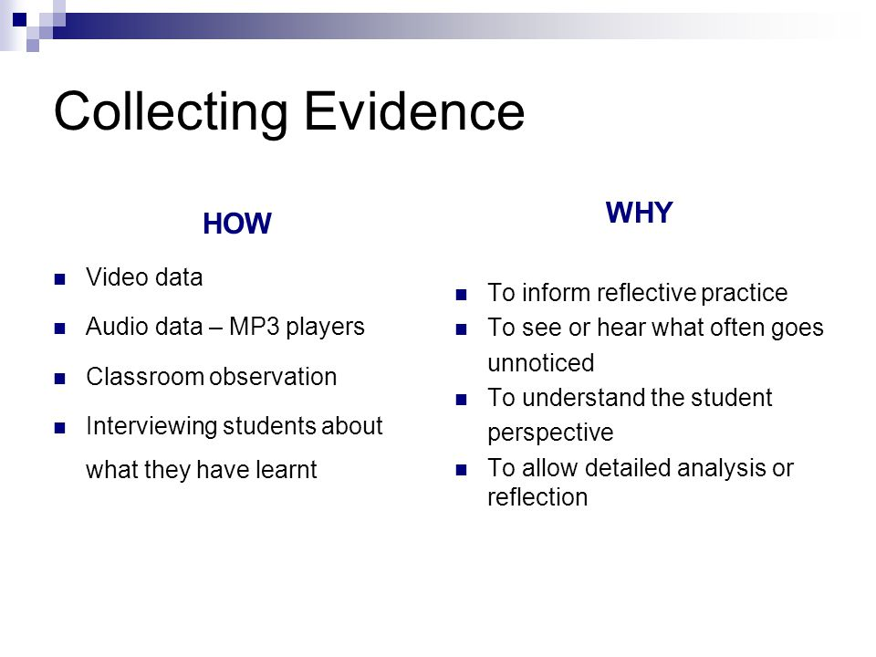 Collecting Evidence HOW WHY Video data To inform reflective practice