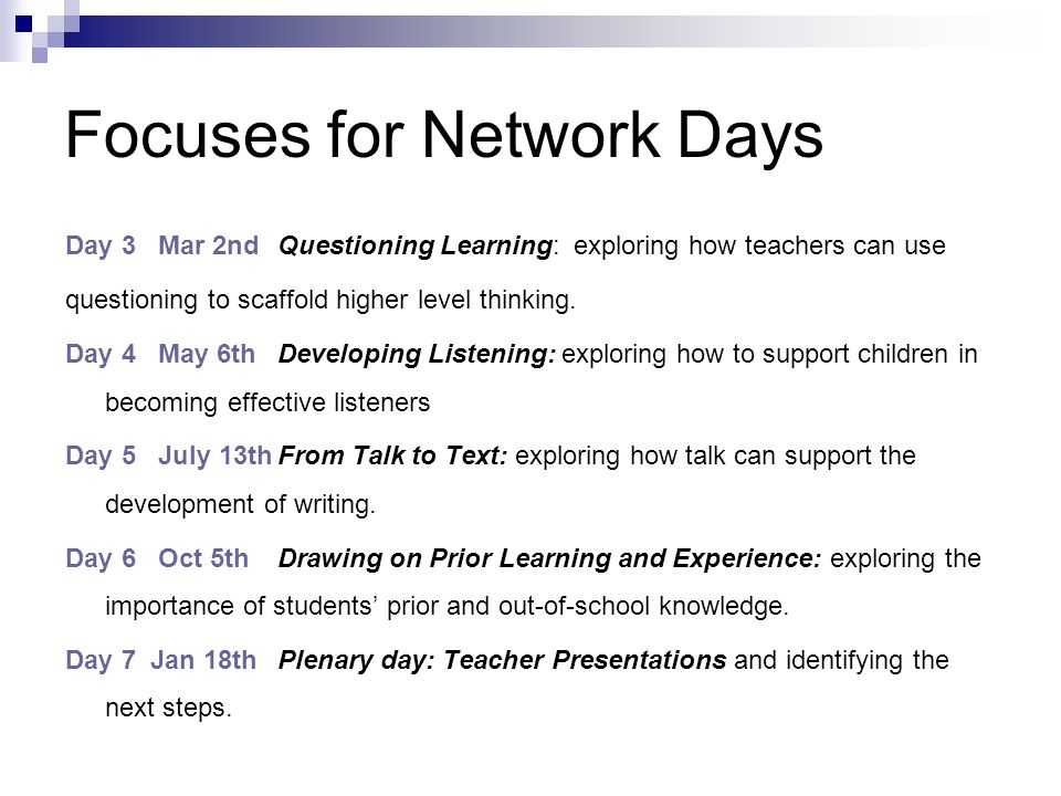 Focuses for Network Days