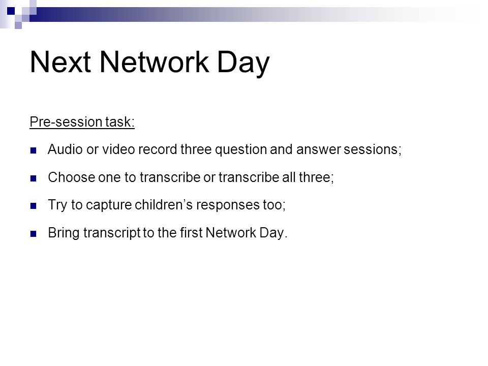 Next Network Day Pre-session task: