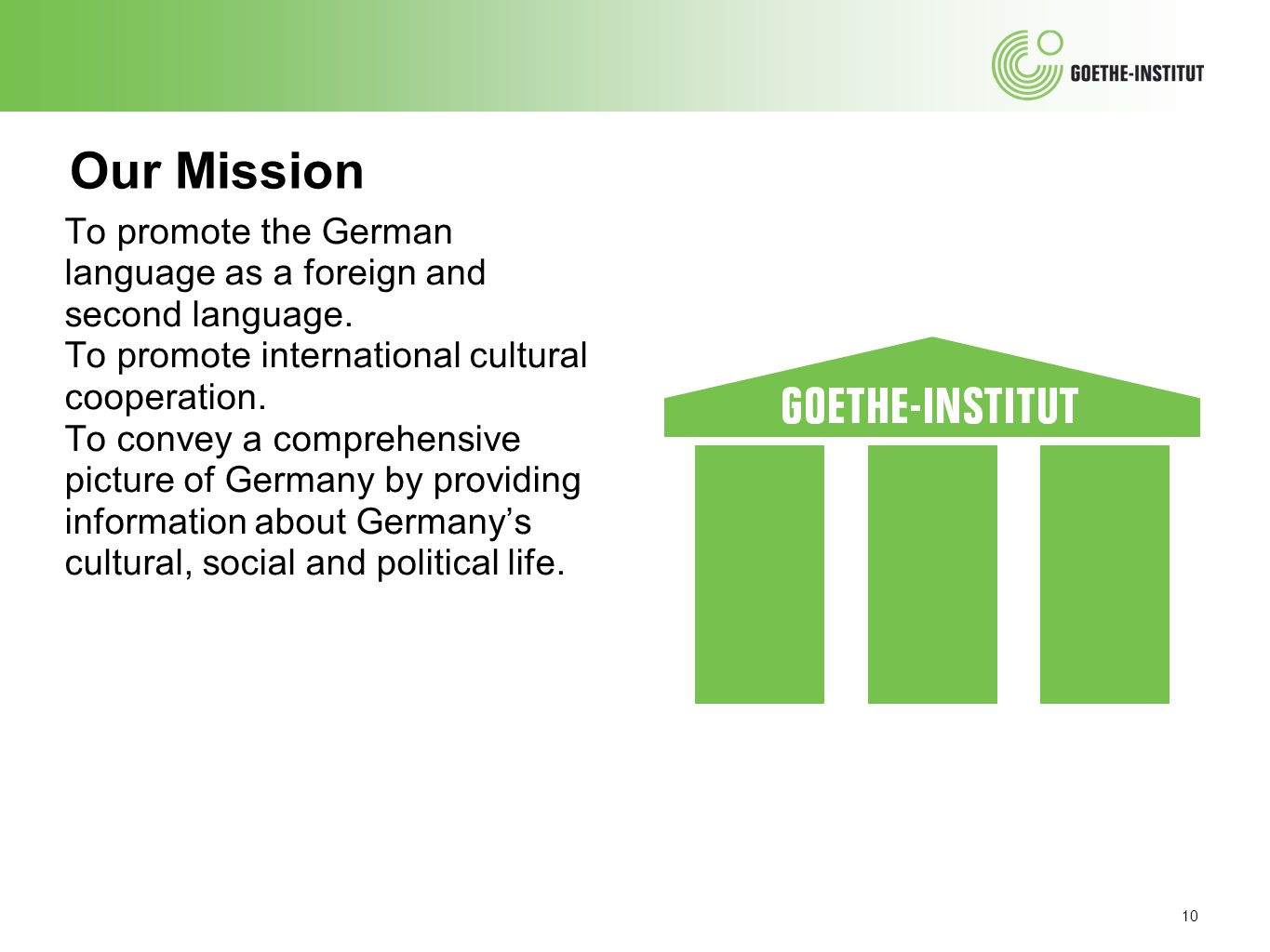 Our Mission To promote the German language as a foreign and second language. To promote international cultural cooperation.