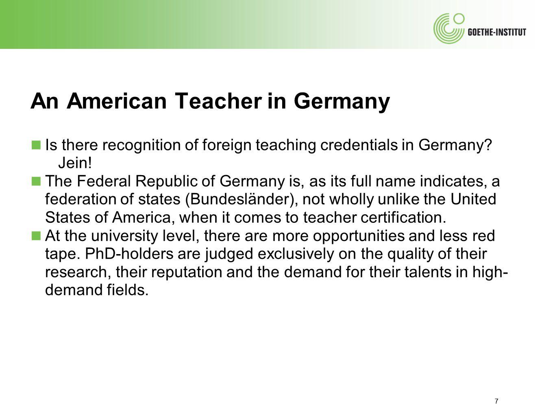 An American Teacher in Germany