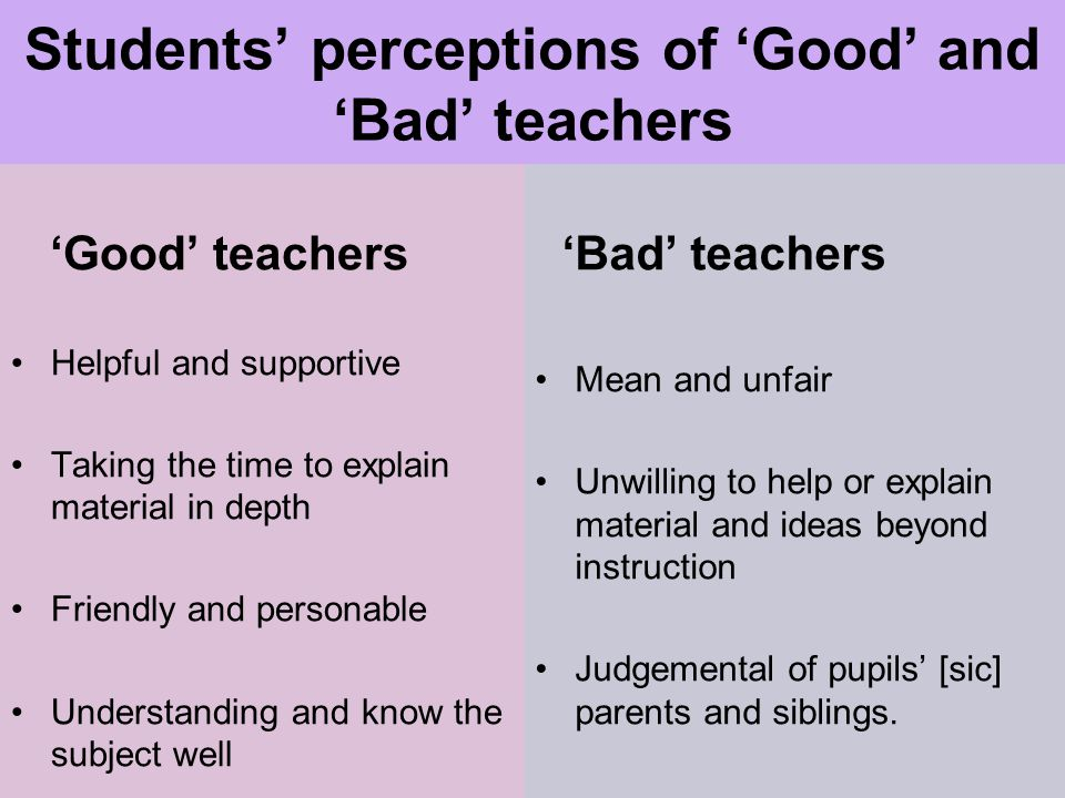 Students' perceptions of 'Good' and 'Bad' teachers