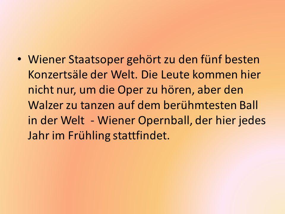 Wiener Staatsoper gehört zu den fünf besten Konzertsäle der Welt