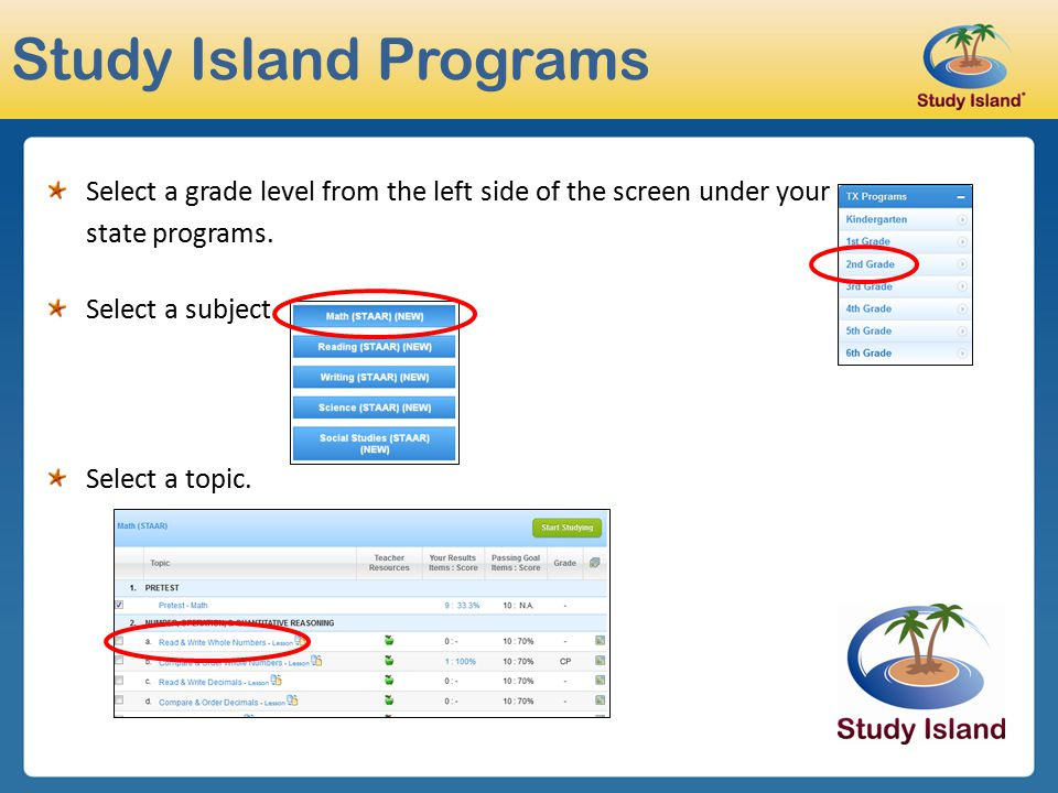 Study Island Programs Select a grade level from the left side of the screen under your. state programs.