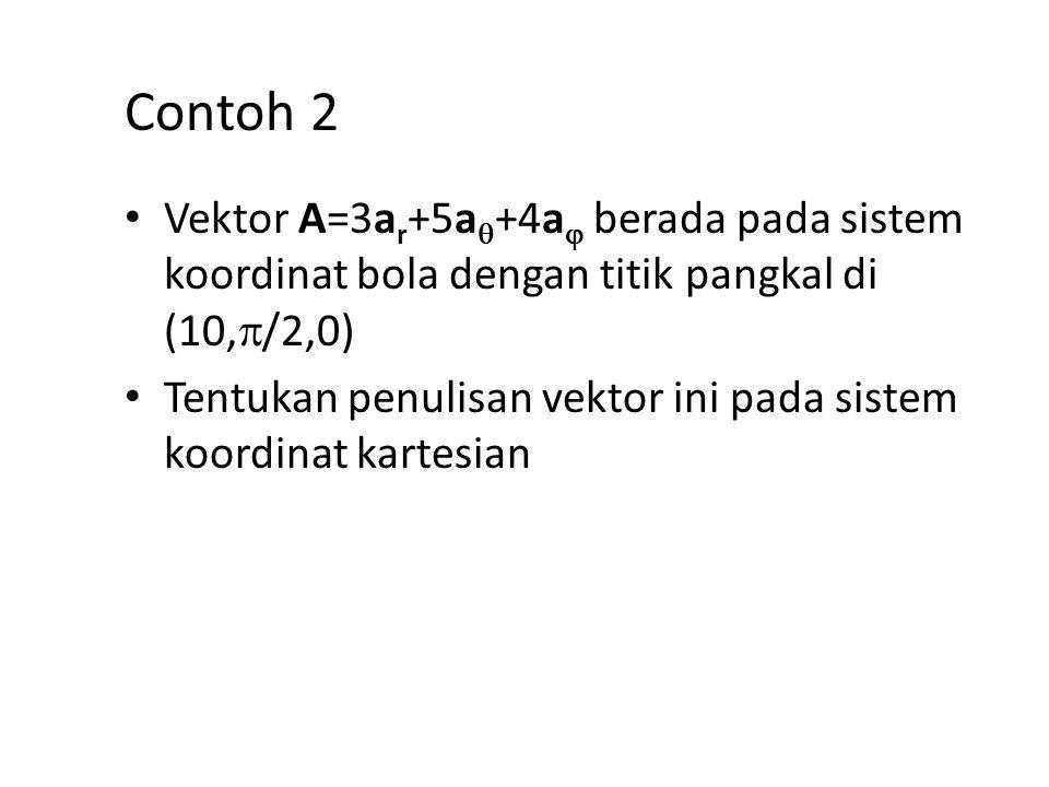 Contoh 2 Vektor A=3ar+5a+4a berada pada sistem koordinat bola dengan titik pangkal di (10,/2,0)