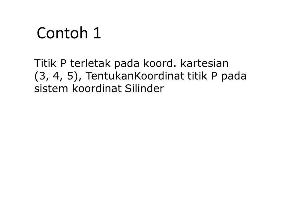 Contoh 1 Titik P terletak pada koord. kartesian