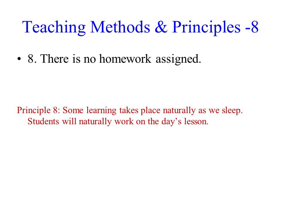 Teaching Methods & Principles -8
