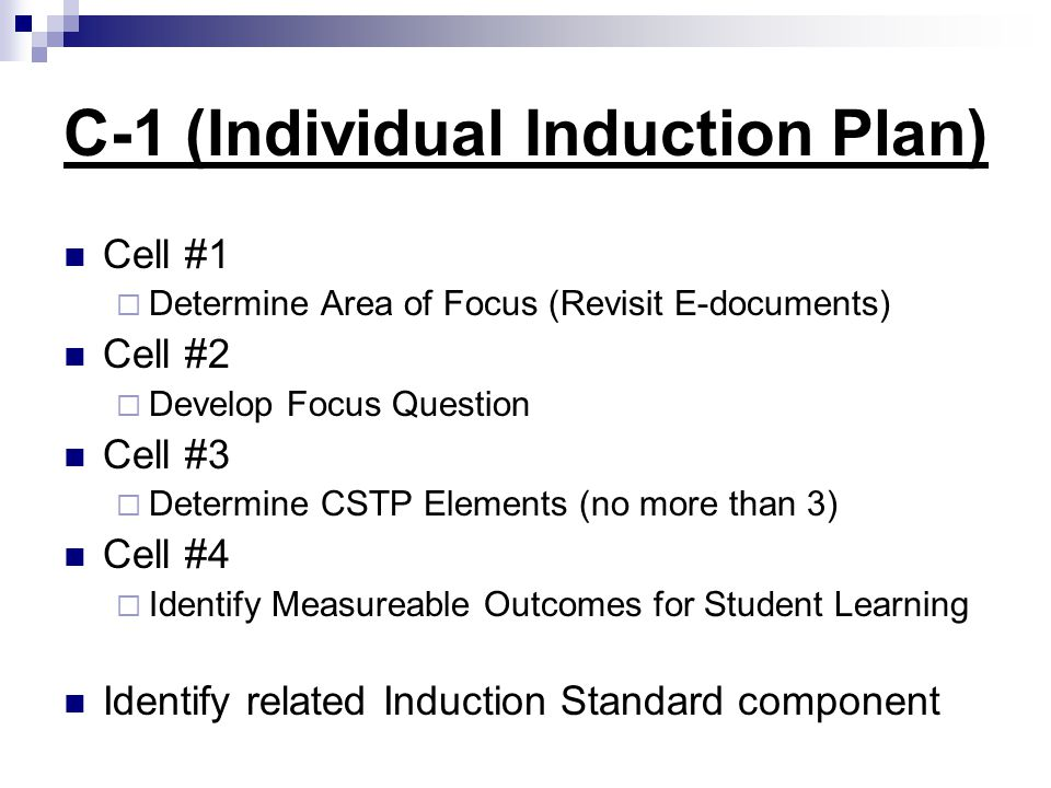 C-1 (Individual Induction Plan)