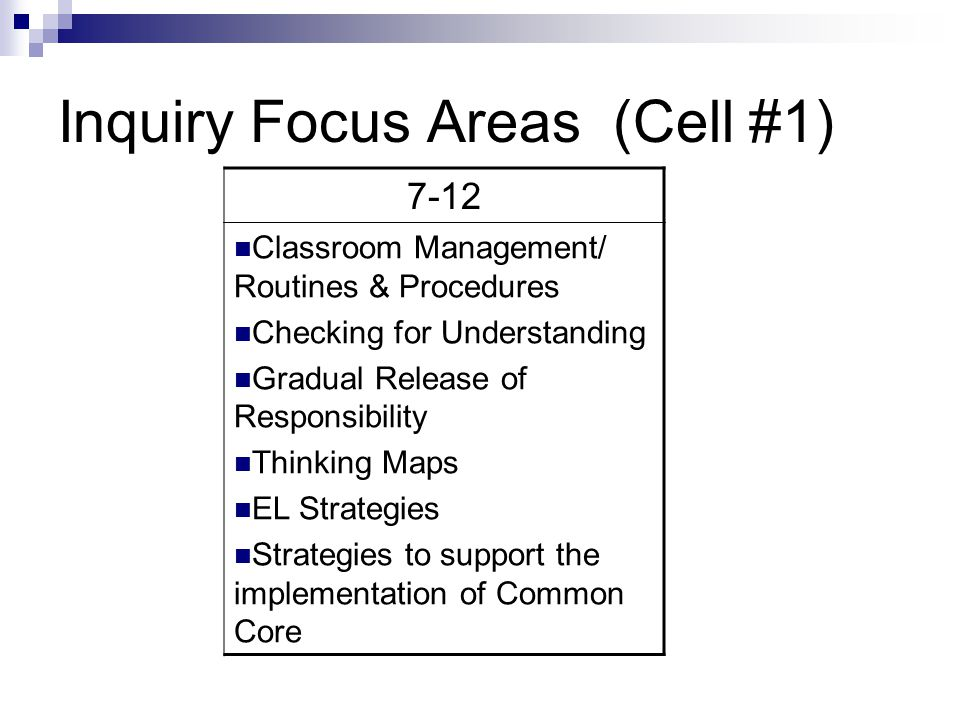 Inquiry Focus Areas (Cell #1)