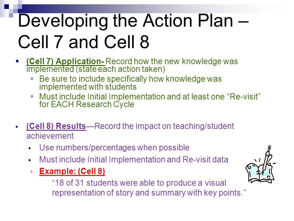 Developing the Action Plan – Cell 7 and Cell 8