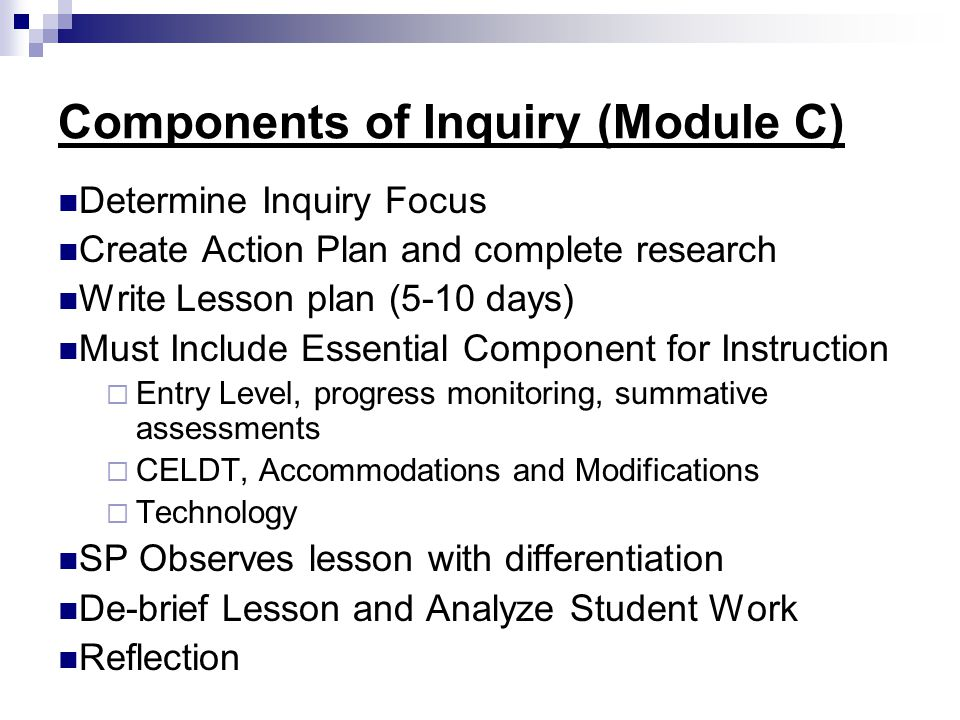 Components of Inquiry (Module C)