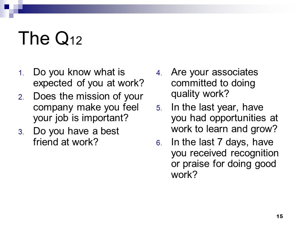 The Q12 Do you know what is expected of you at work