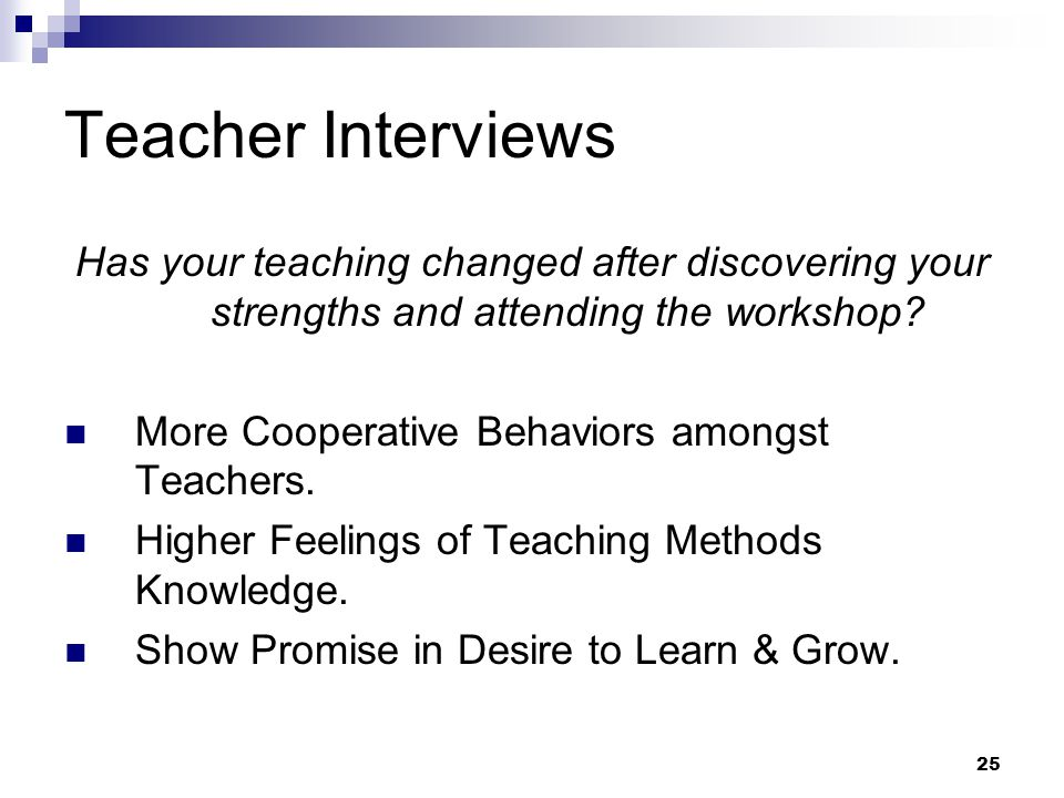 Teacher Interviews Has your teaching changed after discovering your strengths and attending the workshop