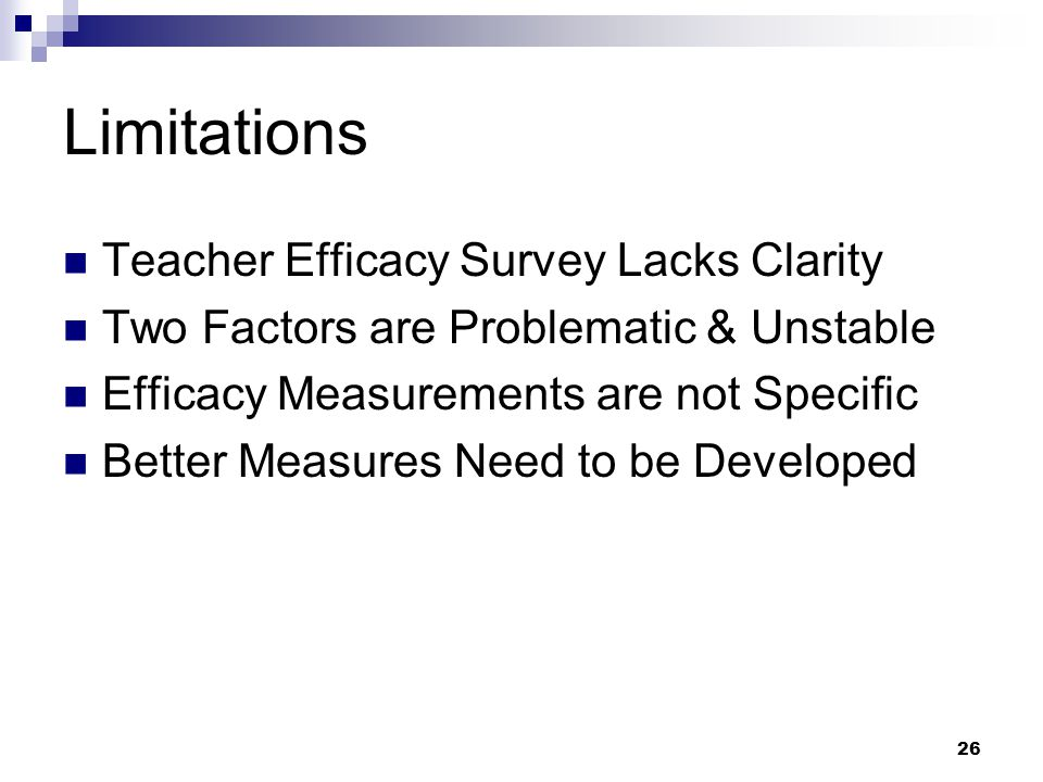 Limitations Teacher Efficacy Survey Lacks Clarity
