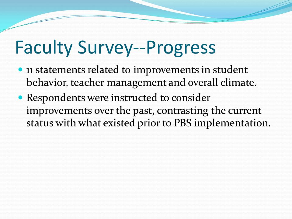 Faculty Survey--Progress