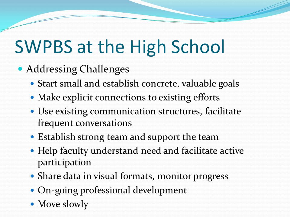 SWPBS at the High School