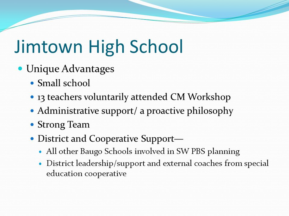 Jimtown High School Unique Advantages Small school