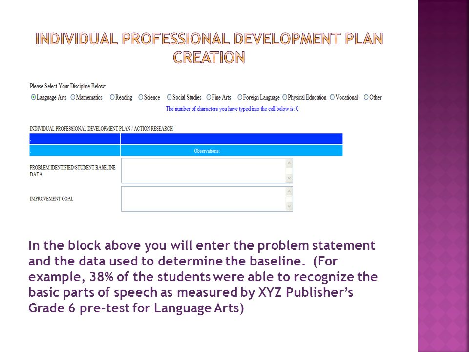Individual Professional Development pLan creation