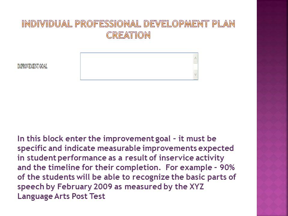 Individual Professional Development pLan creation