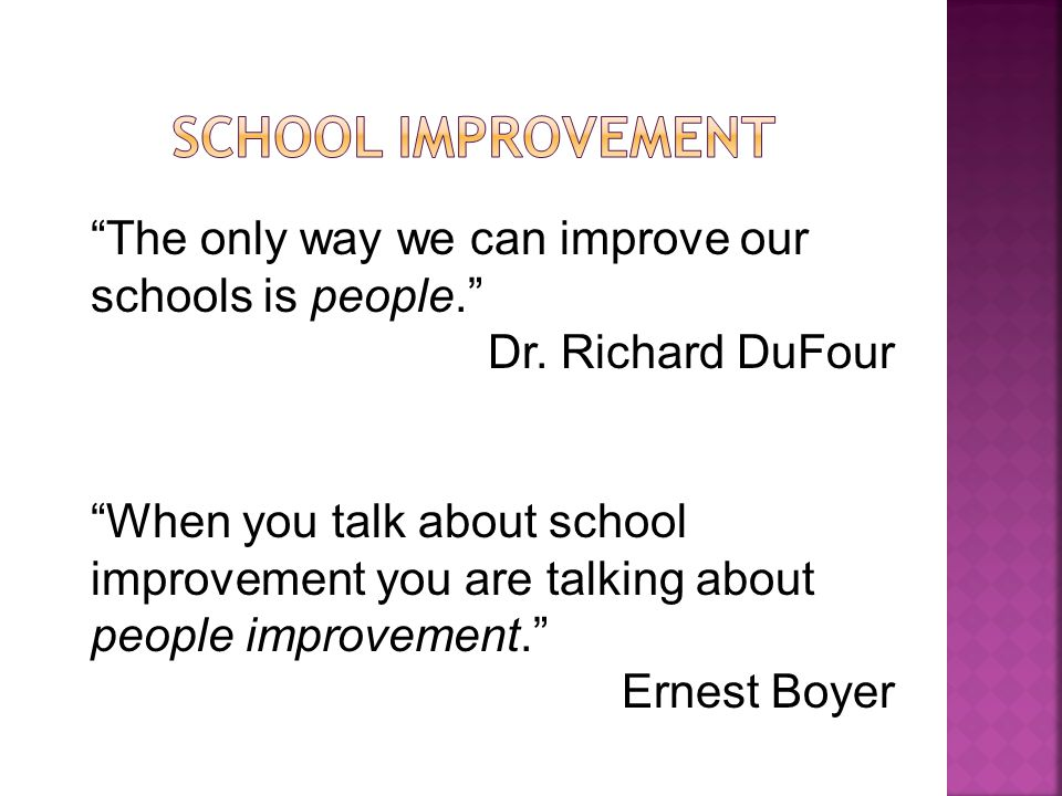 School Improvement The only way we can improve our schools is people. Dr. Richard DuFour.