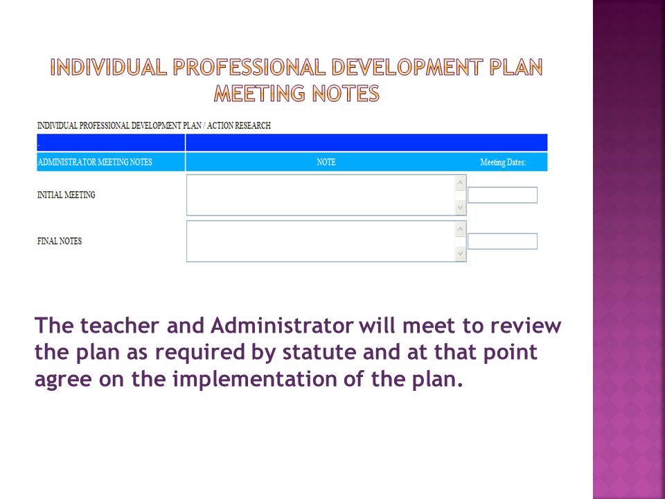 Individual Professional Development pLan MEETING NOTES