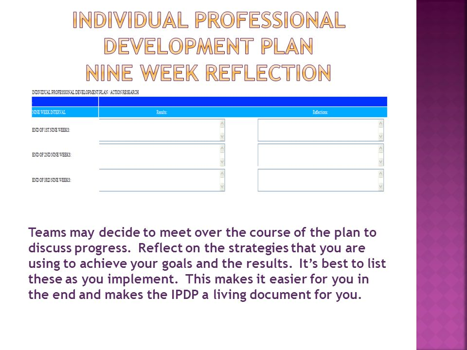INDIVIDUAL PROFESSIONAL DEVELOPMENT PLAN NINE WEEK REFLECTION