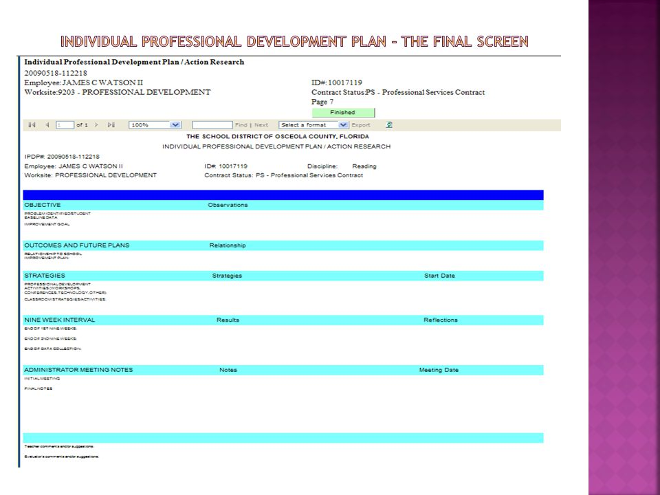 Individual Professional development plan – The FINAL SCREEN