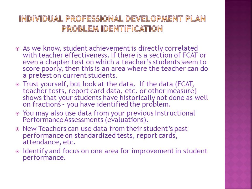 Individual Professional Development pLan Problem Identification