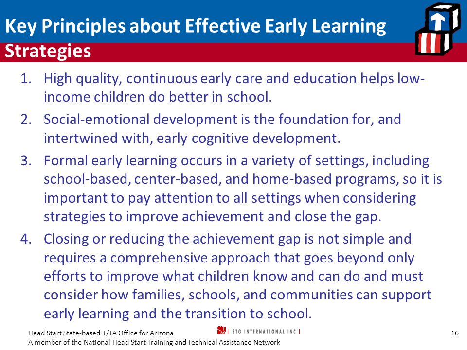 Key Principles about Effective Early Learning Strategies
