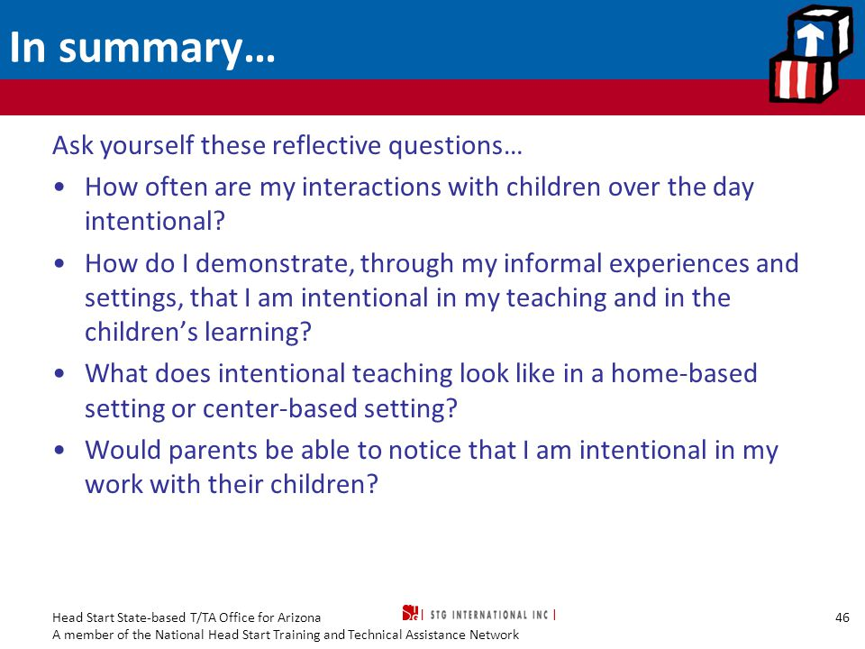 In summary… Ask yourself these reflective questions…