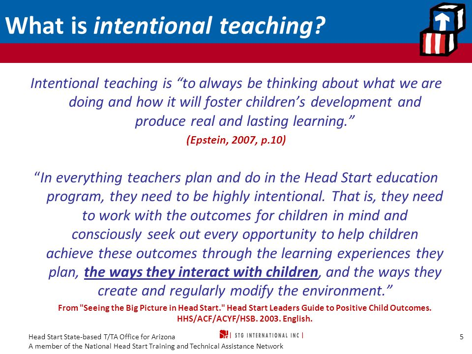 What is intentional teaching