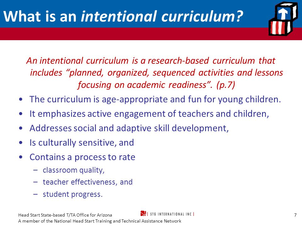 What is an intentional curriculum