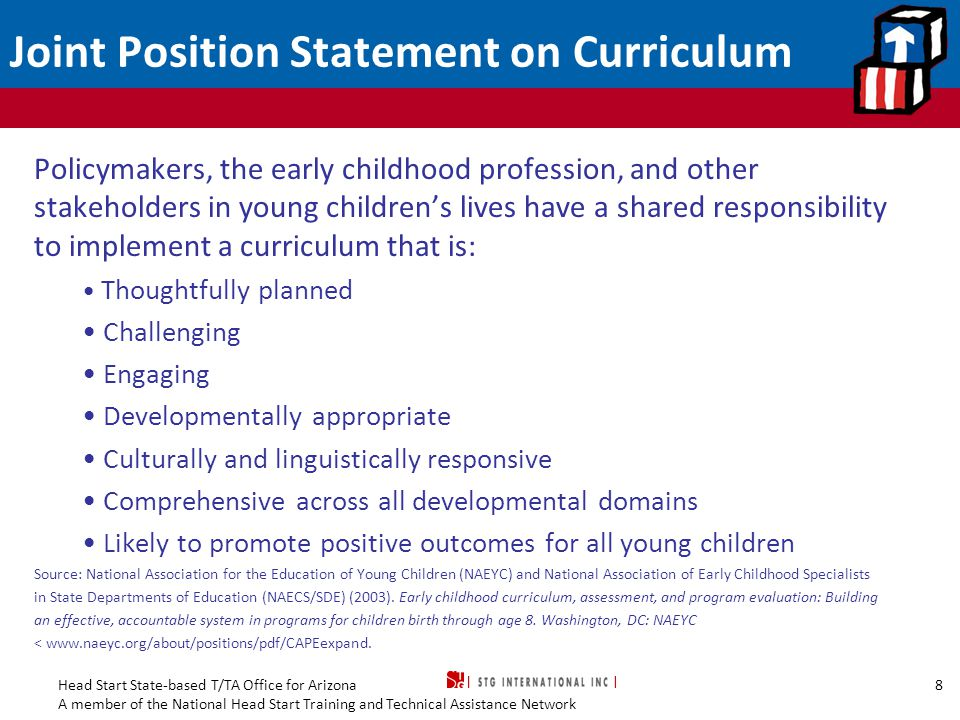 Joint Position Statement on Curriculum