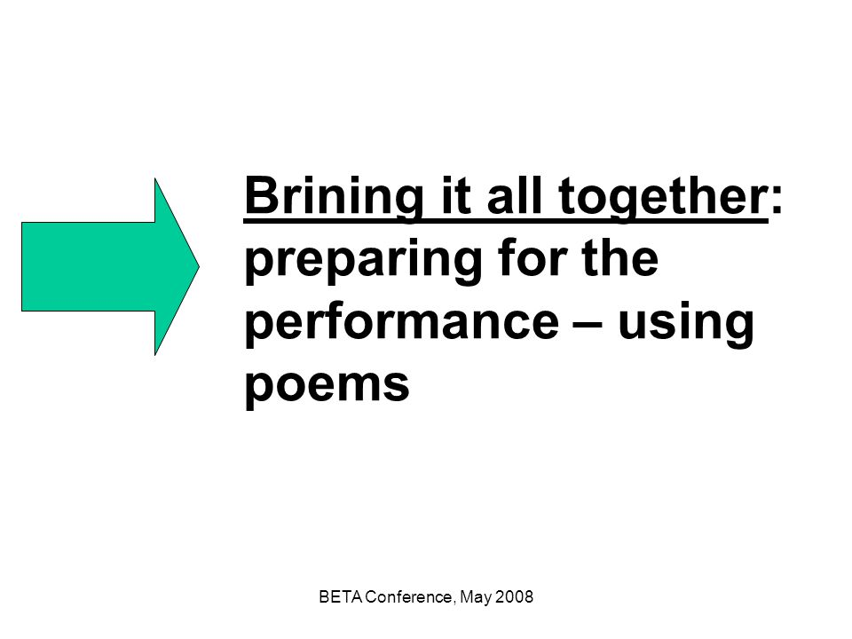 Brining it all together: preparing for the performance – using poems