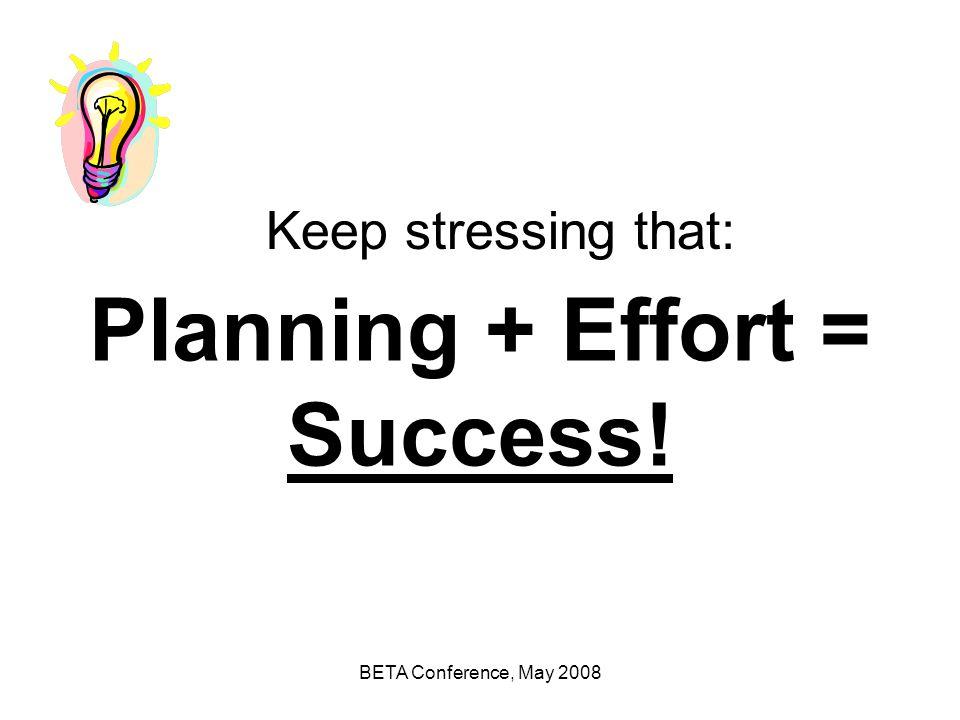 Planning + Effort = Success!