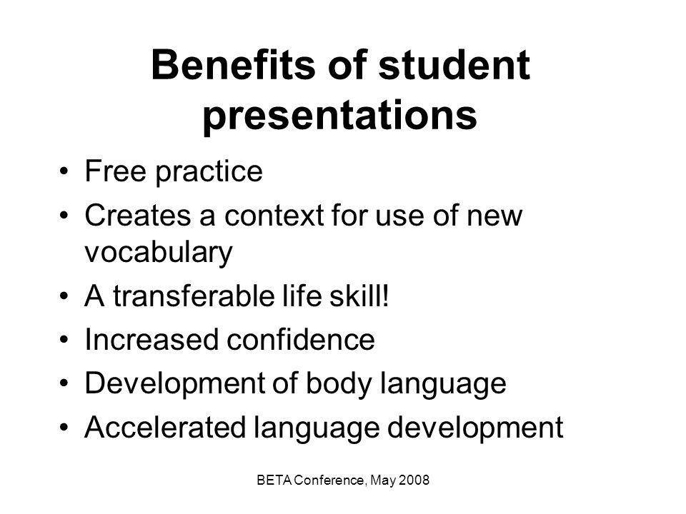 Benefits of student presentations