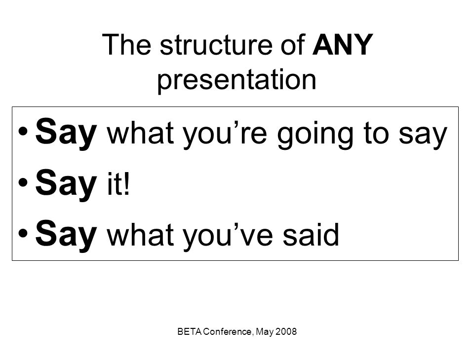 The structure of ANY presentation