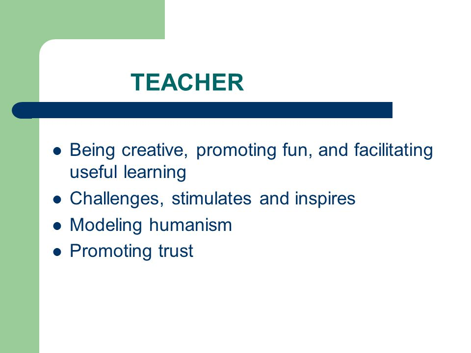 TEACHER Being creative, promoting fun, and facilitating useful learning. Challenges, stimulates and inspires.