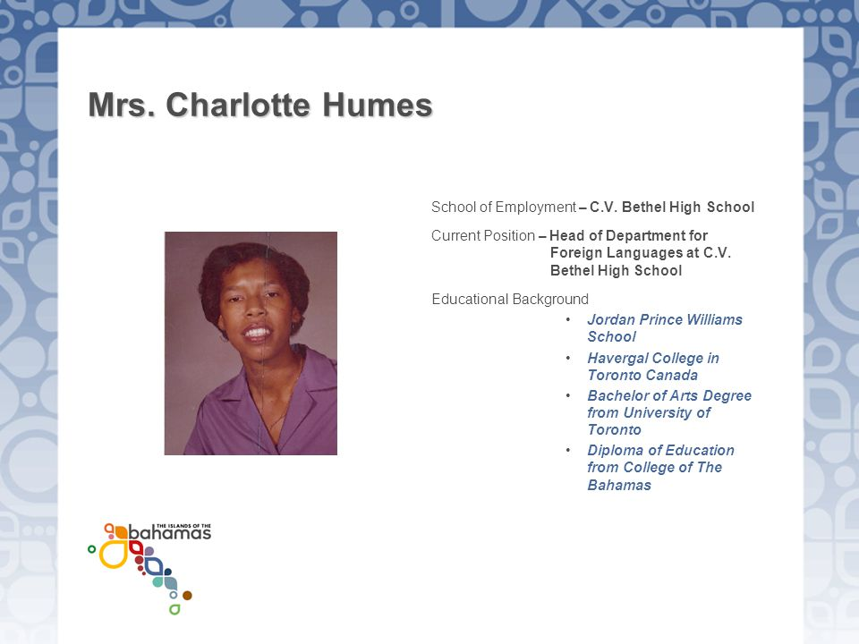Mrs. Charlotte Humes School of Employment – C.V. Bethel High School