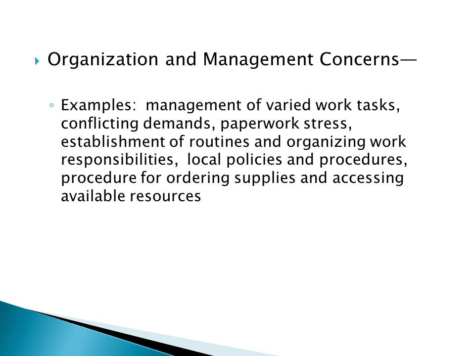 Organization and Management Concerns—