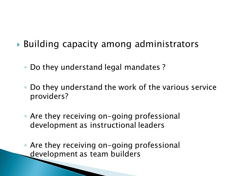 Building capacity among administrators
