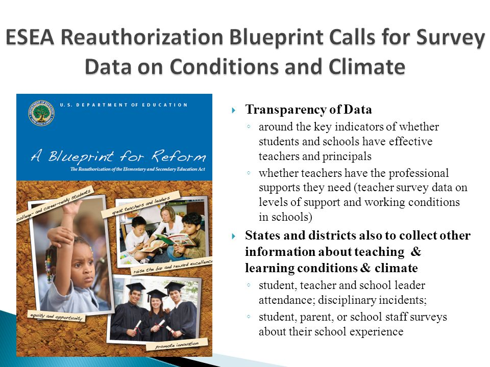 ESEA Reauthorization Blueprint Calls for Survey Data on Conditions and Climate